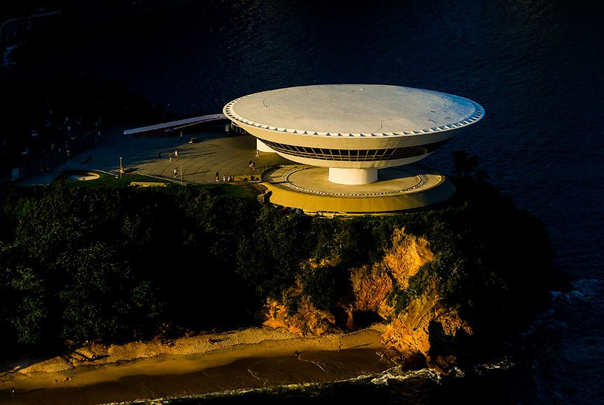 aerial view of the Museum of Contemporary Art made by helicopter.